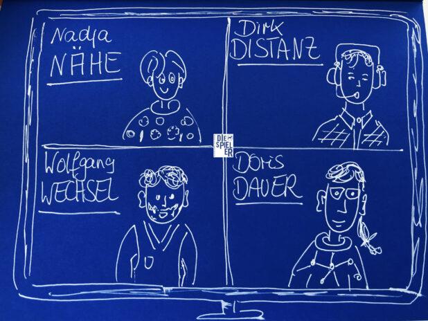 Nadja Nähe, Dirk Distanz, Wolfgang Wechsel, Doris Dauer - herzlich willkommen zum Riemann-Thomann-Modell. Wir Spieler verkörperten das Modell im Rahmen eines Führungskräftetrainings